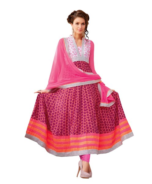 Designer Semi Stitched Pink Cotton Anarkali Dress Material SC3012A