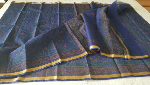 Designer Blue Gold Border Kota Cotton Printed Saree KCS70