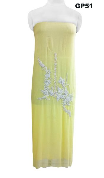 Jaipuri Pearl Hand Work Lemon Yellow Georgette Kurti Kurta Fabric GP51