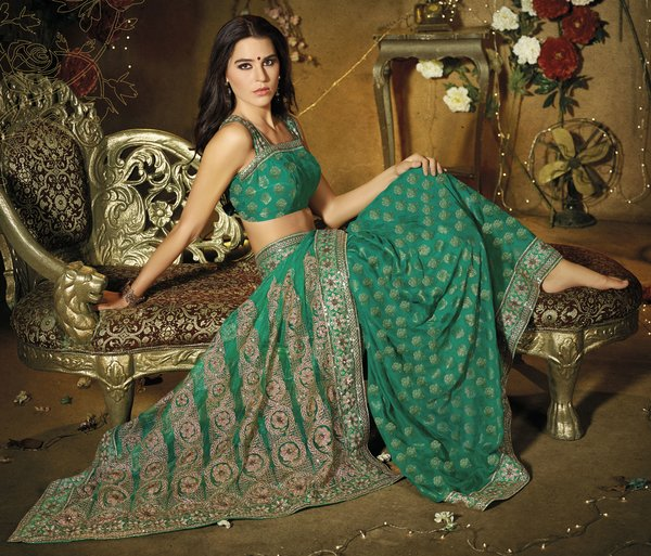 Designer Green Schiffli Embroidered Net saree SC9010A