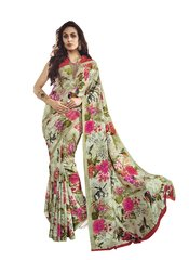 Green Printed Georgette Saree SC21323