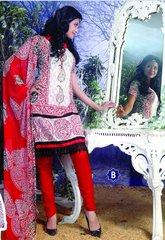 Spun Cotton Offwhite & Orange Lacer Salwar Kameez Churidar Dress Meterial SC 1048B