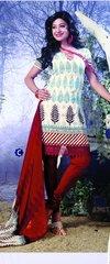 Spun Cotton Cream & Red Lacer Salwar Kameez Churidar Dress Meterial SC 1053C