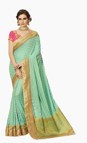 Exclusive Green Silk Embroidered Saree with designer blouse fabric SC4105