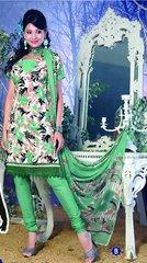 Spun Cotton Green Lacer Salwar Kameez Churidar Dress Meterial SC 1051B