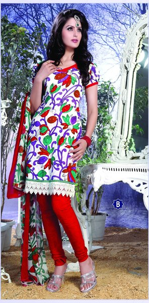 Spun Cotton Cream & Orange Lacer Salwar Kameez Churidar Dress Meterial SC 1058B