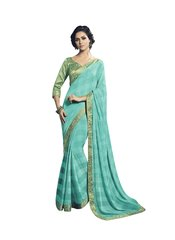 Turquoise Soft Chiffon Saree With Silk Print Lacer Border SC21207
