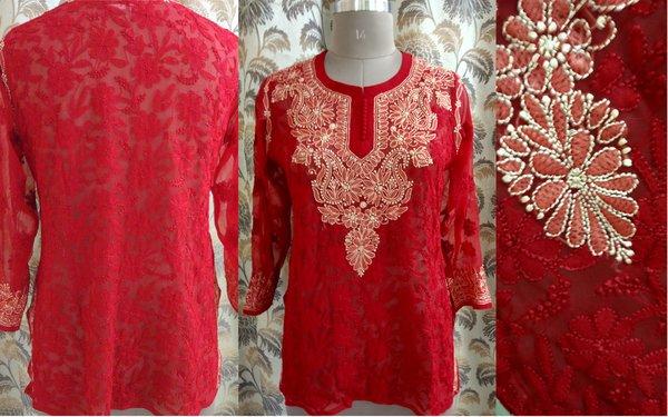 Designer Georgette Red Chikankari Short Kurti Kurta SC909 SZ 42