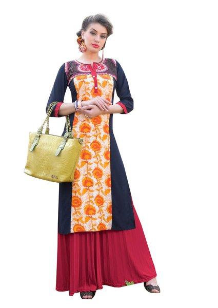 Designer Rayon Cotton Blue Embroidered Long Kurta Kurti Size XL SCKS114