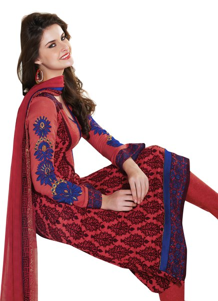 Orangish Red Winter Pashmina Embroidered Dress Material