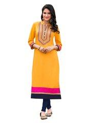 Designer Rayon Cotton Yellow Embroidered Long Kurta Kurti Size XL SCKS208