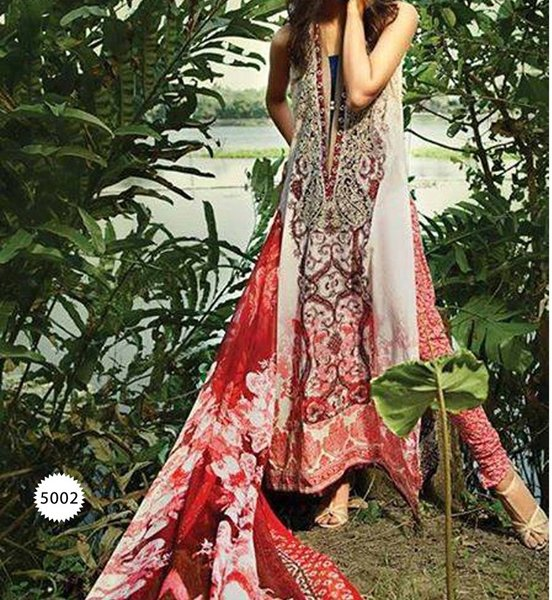 Designer Pakistani Printed Glazed Cotton Off White Pant Style Dress material F5002