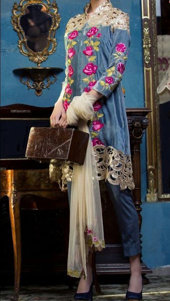 Designer Pakistani Replica Blue Georgette Dress Material Trouser Suit TM4001