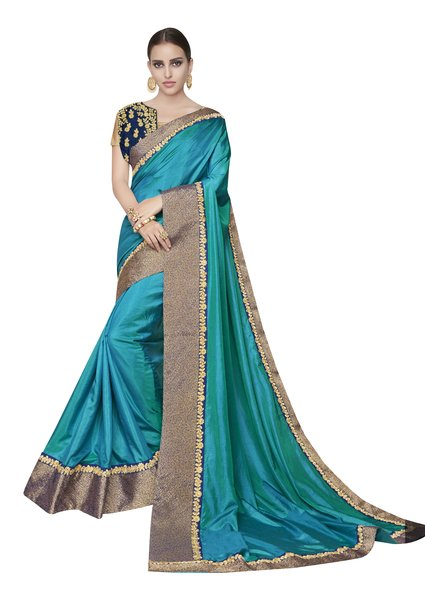 Designer Two Tone Turquoise Silk Border Saree with Blouse and Jacket