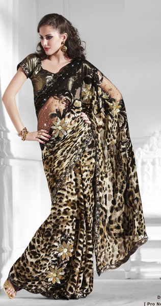 Designer Black/Brown Net Georgette Embroidered Heavy saree SC2122