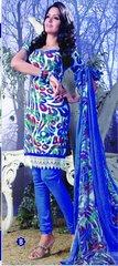 Spun Cotton Blue Lacer Salwar Kameez Churidar Dress Meterial SC 1060B