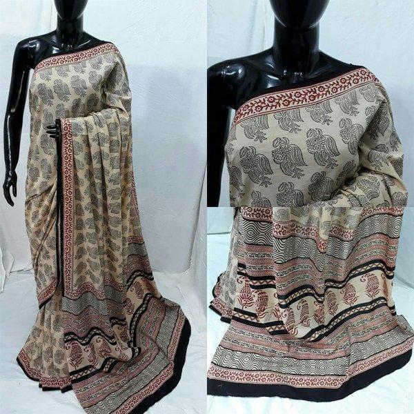 Exclusive Ajrakh Hand Block Printed Beige Cotton Saree NV07