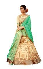 Cream Green Pure Silk Lehenga Choli Dupatta L507