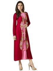 Designer Red Pink Georgette Kurti Kurta Dress Size XL SCLT912