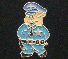 Police Pig in Blue Uniform Hat Pin #GE02030