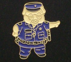 Police Pig in Uniform Hat Pin #GE06351