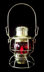 Adlake Brass Railroad Lantern with Choice of Globe Color