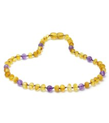 Baltic Amber & Amethyst Necklace Raw Unpolished
