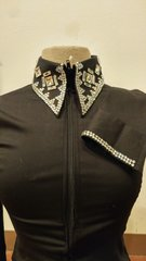 Black zip up shirt with clear stones