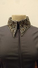 Steel Grey shirt with clear and black stones