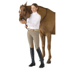 Ovation® Girl's Euro Seat Knee Patch Side-Zip Breeches