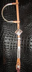 Headstall with diamond buckle with beaded edge