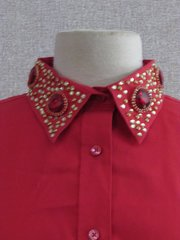 Red Button Up Ladies Western Shirt