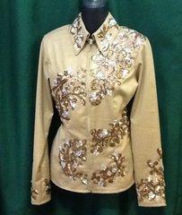 Tan Showmanship Shirt with gold sequins