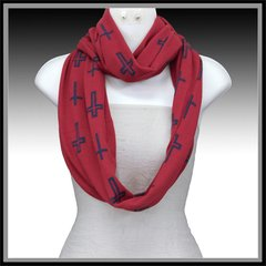Red & Navy Cross Scarf