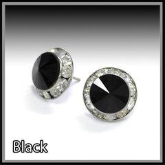 Black Crystal Post Earrings