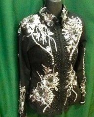 Black showmanship shirt with flowers