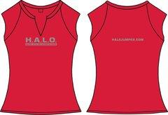 Ladies H.A.L.O Spandex Slit-V Raglan T-Shirt - Red