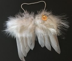 angel wing ornament with aspen leaf charm