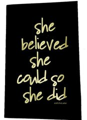 "notebook by aspen lane - ""she believed she could so she did"" black/gold foil"