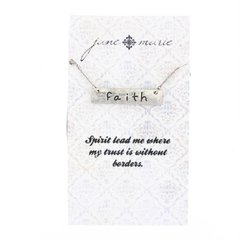 silver faith bar necklace