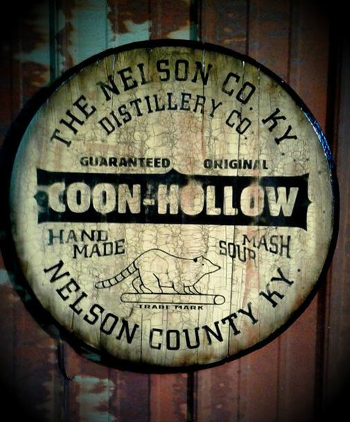 Coon Hollow Bourbon Whiskey Barrel Top Sign Nelson County