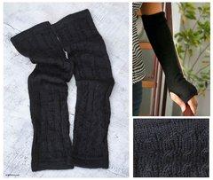 Hand-Knit Cable Rib 100% Alpaca Elbow Length Fingerless Gloves