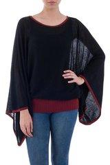 Black Burgundy Dance Lightweight Unique Sweater