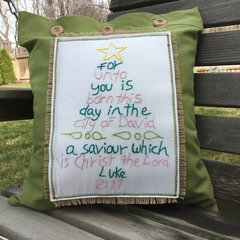 Luke 2:11 Pillow Cover, Green and Pink