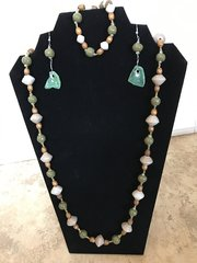 """Taupe and Green with Sea Glass Set - 32"""""""