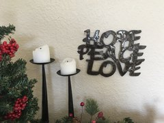 Hammered Metal Word Art - Hope, Peace, Love