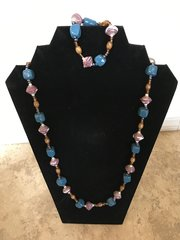 Blue Clay with Berry Paper Beads - 29""