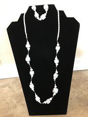 "White Necklace and Bracelet - 24"" and 28"""