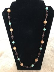 """Brown, Tan and Green Necklace - 38"""""""