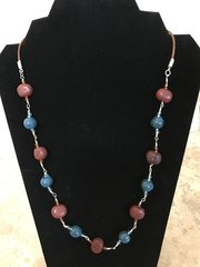 """Red and Blue Necklace - 22"""""""